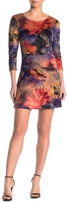 Papillon Floral 3/4 Sleeve Velour Mini Dress