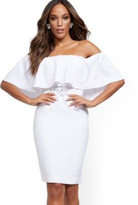 New York & Co. White Flounced Off-The-Shoulder Sheath Dress