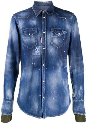 DSQUARED2 Bleached Effect Buttoned Denim Shirt