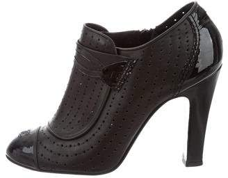 Chanel Perforated Cap-Toe Booties