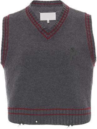 Maison Margiela Distressed Wool-Blend Vest