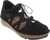 Naot Footwear Suede Ghillie Lace Cut Out Flats - Calathea