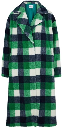 Stand Studio Maria Checked Faux Shearling Coat