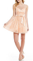 B. Darlin Sleeveless Sash Waist Sequin Lace A-line Party Dress