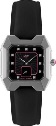 Matthew Williamson Women's Quartz Black Dial Analogue Display and Black Leather Strap LSM33001/04