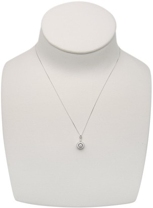 Love Diamond Love DIAMOND 9ct White Gold 8 Point Diamond Vintage-Inspired Solitaire Pendant Necklace
