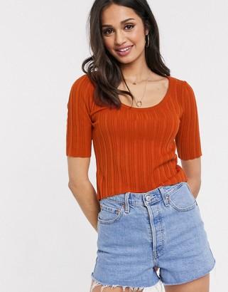 ASOS DESIGN scoop neck sweater with short sleeve in orange