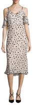 ABS by Allen Schwartz Floral Ruffle Sleeve Midi Dress