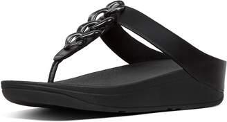 FitFlop Fino Tortoiseshell-Chain Toe-Thongs