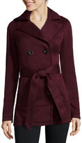 Liz Claiborne Belted Fleece Trench Pea Coat - Tall
