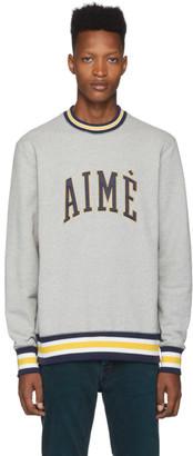 Leon Aime Dore Grey Collegiate Crewneck Sweater