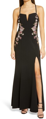 Speechless Rose Applique Crepe Gown