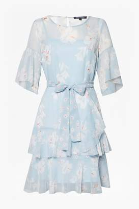 French Connection Alba Sheer Tie Waist Ruffle Dress