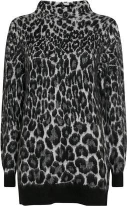 Wallis Monochrome Animal Print High Neck Jumper