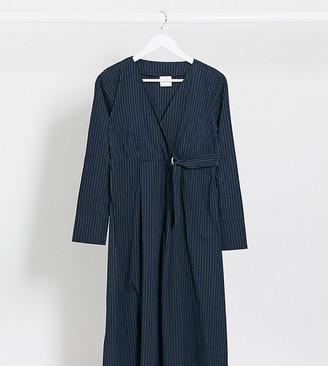 Mama Licious Mamalicious long sleeve midi dress in navy