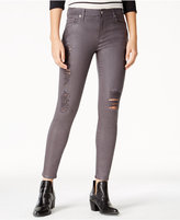 7 For All Mankind Coated Grey Wash Ripped Skinny Jeans