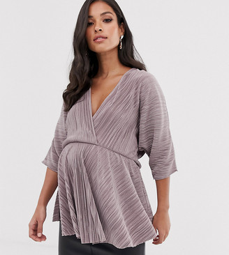 ASOS DESIGN Maternity plisse wrap top with batwing sleeve