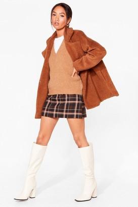 Nasty Gal Womens Long December Petite Longline Faux Fur Coat - Beige - 4