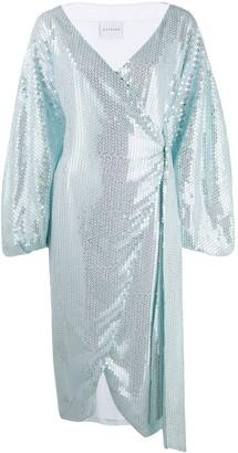 Halpern balloon sleeve sequin dress