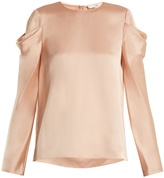 Tibi Celestia draped-sleeve satin top