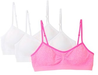 Fruit of the Loom Girls Seamless Bra with Removable Pads, 3-Pack, Sizes 4-18