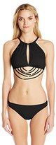 Kensie Women's Solid Strappy Monokini One-Piece Swimsuit
