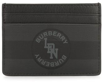 Burberry logo graphic London check card case