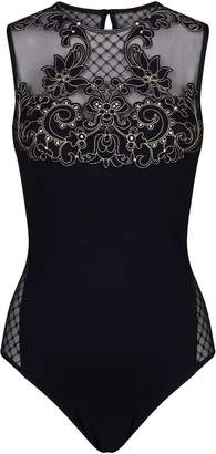 Gottex Mesh Panel Embroidered Swimsuit