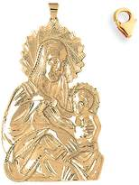 JewelsObsession Gold-Plated 925 Sterling Silver 104mm Mother Mary Charm w/ Lobster Clasp
