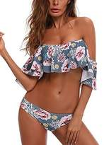 Tempt Me Women 2 Piece Off Shoulder Floral Printed Ruffle Bikini Crop With Cheeky Low Rise Cutout Bottoms