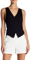 Blvd V-Neck Rib Knit Asymmetrical Tank