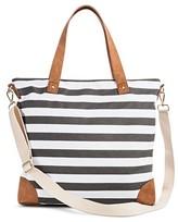 Merona Women's Stripe Print Canvas Tote Handbag with Removeable Crossbody Strap