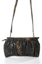 Halston Dark Brown Patent Leather Snakeskin Print Crossbody Shoulder Handbag