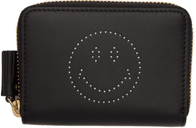 Anya Hindmarch Black Small Smiley Zip Around Wallet