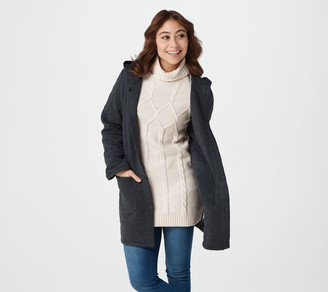 Susan Graver Weekend Quilted Knit Button-Front Hooded Jacket