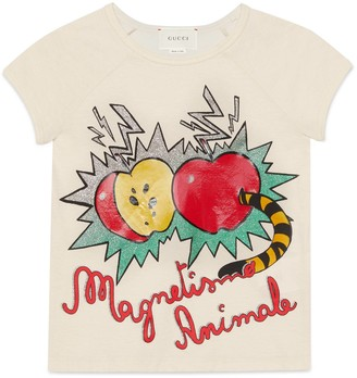 Gucci Children's apple and worm print cotton T-shirt