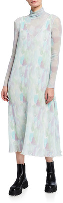 Ganni Georgette Watercolor Long Slip Dress
