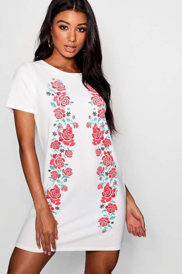 boohoo Printed Embroidered Shift Dress