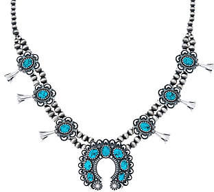 American West Spiderweb Turquoise SquashBlossomNecklace