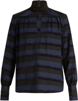 Rachel Comey High-neck cut-out front chenille-striped top