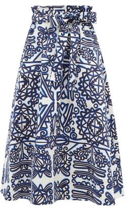 La DoubleJ Sardegna Parnaveg-print Cotton Midi Skirt - Blue White