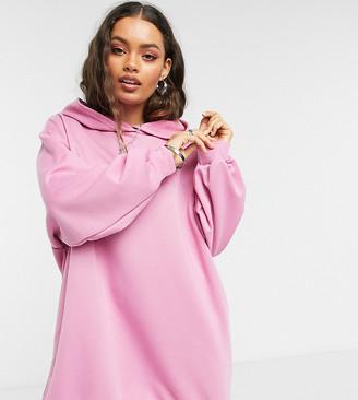 ASOS DESIGN Petite mini sweatshirt hoodie dress in bubblegum pink