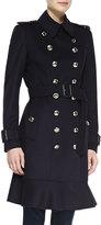 Burberry Ruffle-Hem Wool-Cashmere Trenchcoat