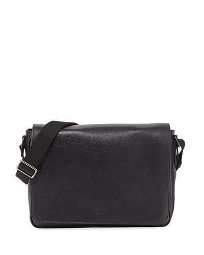 Giorgio Armani Caviar Leather Messenger Bag, Black