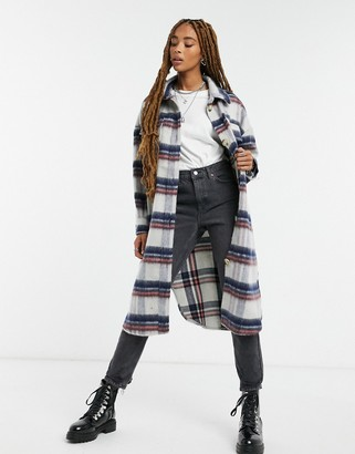 Only maxi shacket in brushed check
