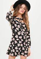 Missguided Rose Print Lace Up Neck Skater Dress