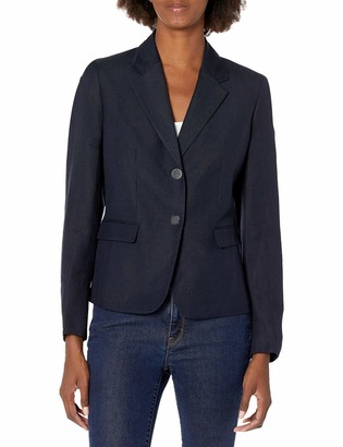 Nine West Women's 2 Button Notch Collar Linen Jacket