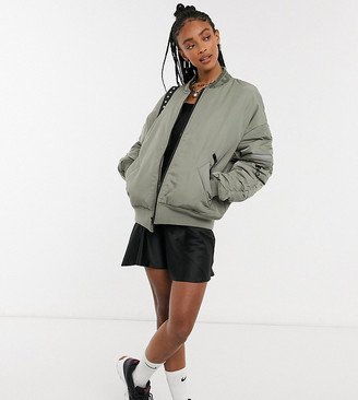 Collusion Unisex MA1 bomber jacket with ruched sleeve detail in khaki