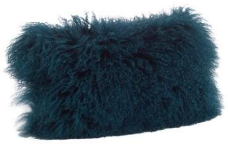 "Saro Lifestyle Mongolian Lamb Fur Poly Filled Throw Pillow, Teal, 12""x20"""