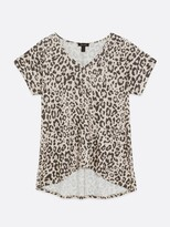 Thumbnail for your product : New Look Printed V Neck T-shirt - CreamLeopard Print